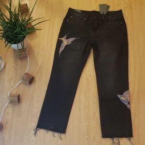 All Saints Birds boyfriend cropped jeans in black